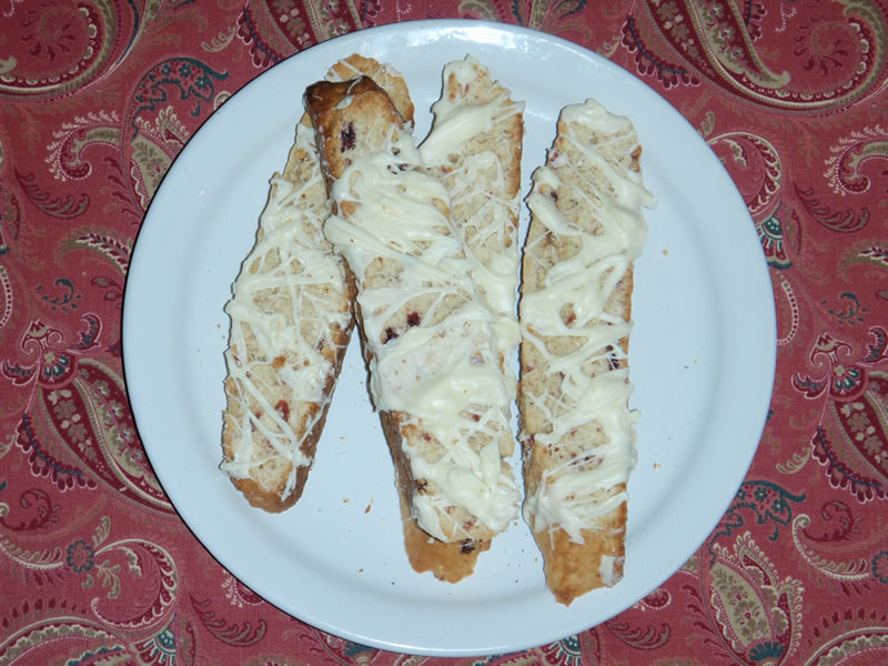 One Dozen Oatmeal Cranberry White Chocolate Drizzle Biscotti